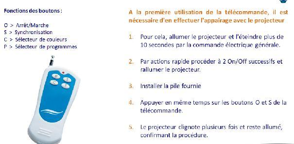 télécommande du projecteur à leds pour piscine olivia Spot10