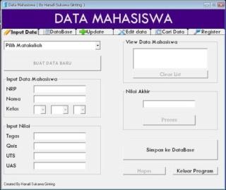 Update Aplikasi Database Mahasiswa VB6 Input10