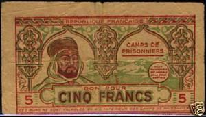 Billets Algériens pour camp de prisonniers 1940 5_fran10