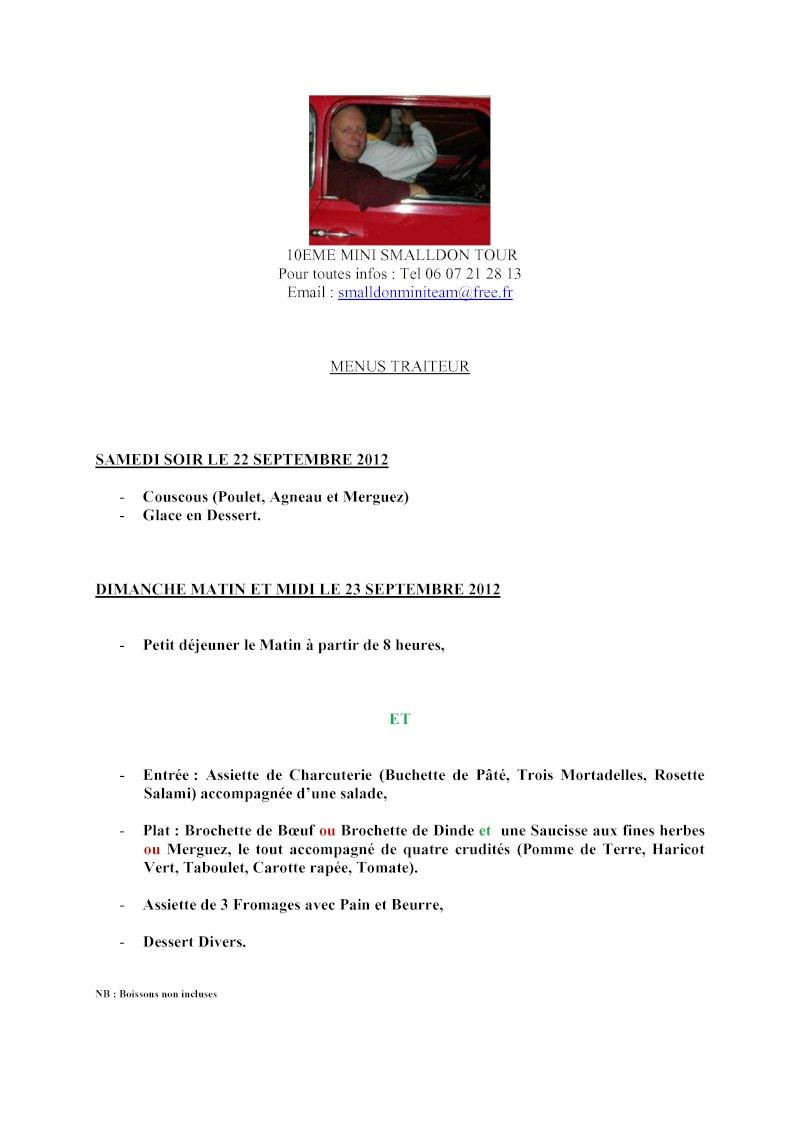 10ème MINI SMALLDON TOUR 22 et 23 Septembre 2012 Menus_10