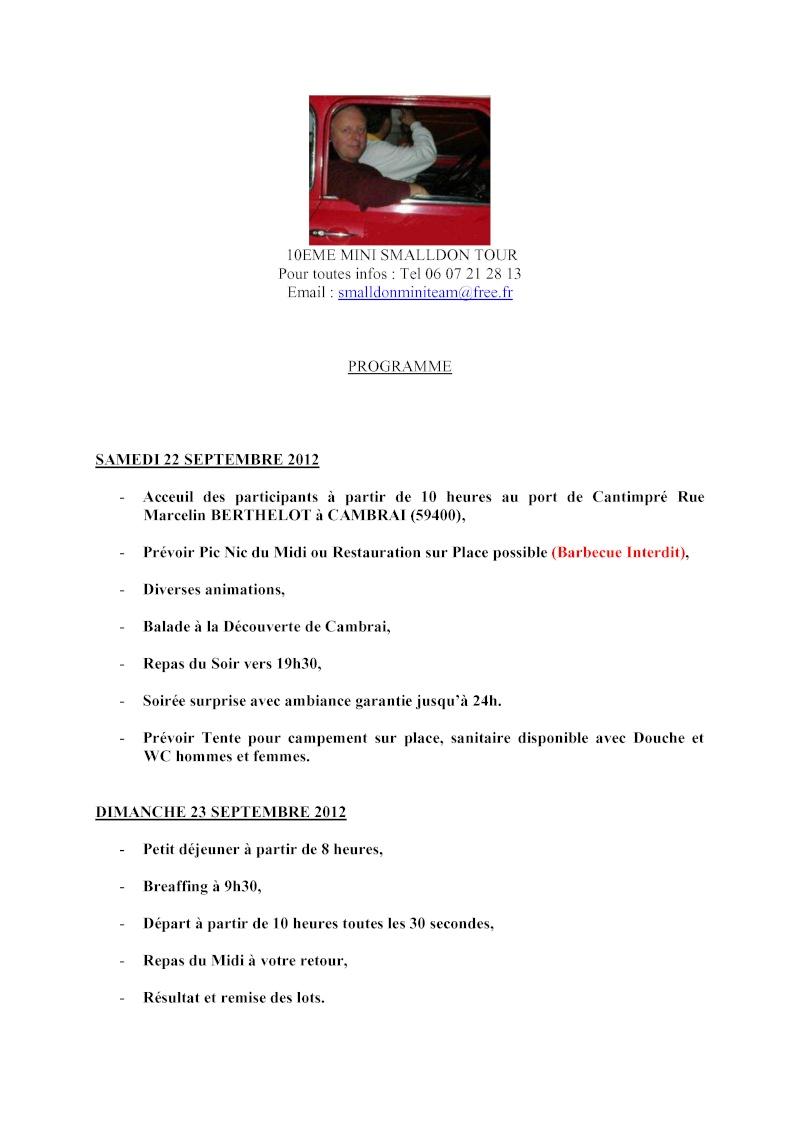 10ème MINI SMALLDON TOUR 22 et 23 Septembre 2012 Progra10