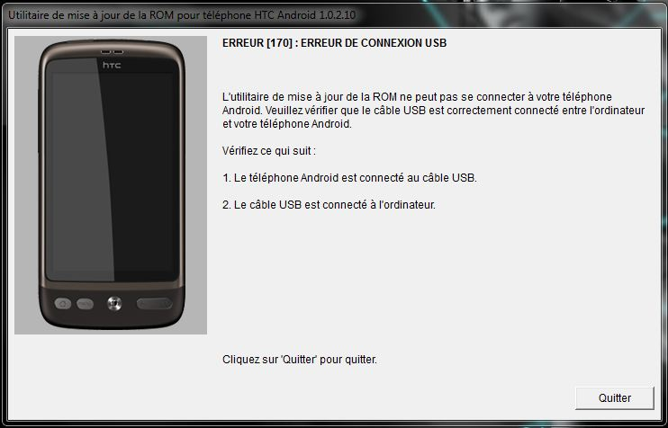 [AIDE] Ecran bloquer sur page d'accueil (page blanche + htc vert) suite à une tentative de ROOT sur HTC désire =( Erreur10