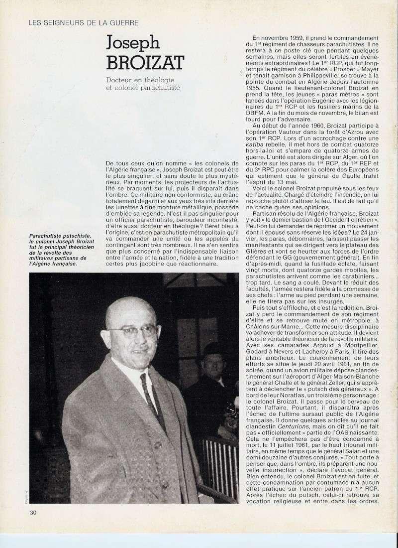 BROIZAT Joseph Colonel - Commandat le 1er RCP théoricien du putsch avril 61 Numari19