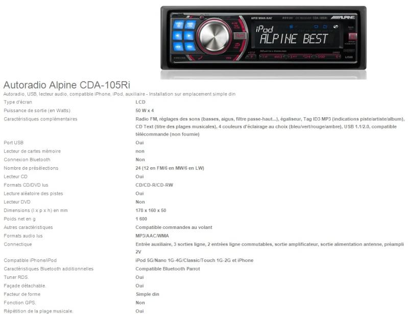 "[Vends] Sono ""Source :Alpine CDA-105Ri"" Alpine11"