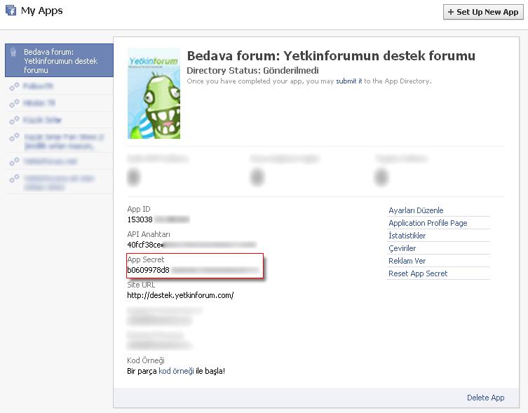 Facebook Developer Yeni Uygulama Sorun 311