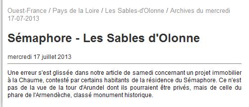 [ Les sémaphores - divers ] L'ANCIEN SEMAPHORE DE LA CHAUME Chaume14