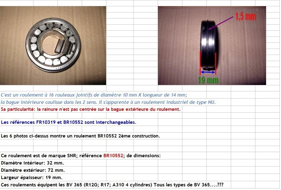 Boites 330 (R8) aux boites NG5 (R5 alpine turbo) roulements Br105516