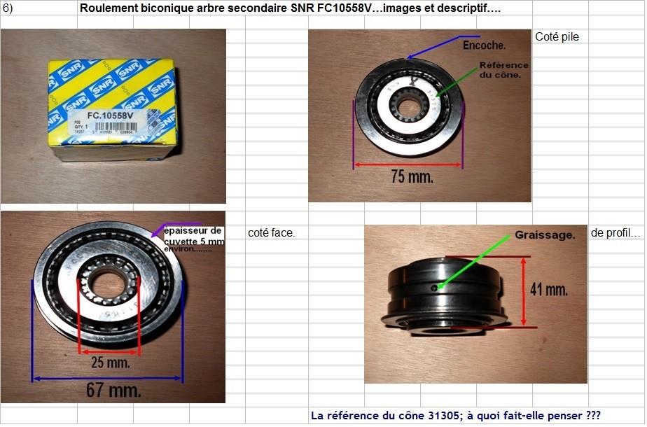 Boites 330 (R8) aux boites NG5 (R5 alpine turbo) roulements Fc105510