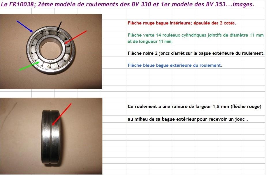 Boites 330 (R8) aux boites NG5 (R5 alpine turbo) roulements Fr100310
