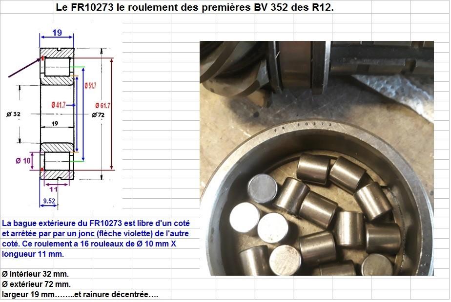 Boites 330 (R8) aux boites NG5 (R5 alpine turbo) roulements Fr102711