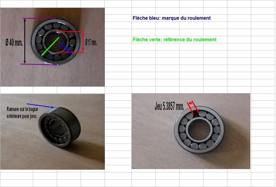 Boites 330 (R8) aux boites NG5 (R5 alpine turbo) roulements Nu_22022