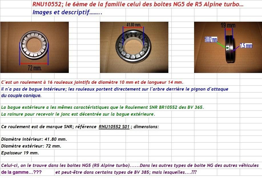 Boites 330 (R8) aux boites NG5 (R5 alpine turbo) roulements Rnu10510