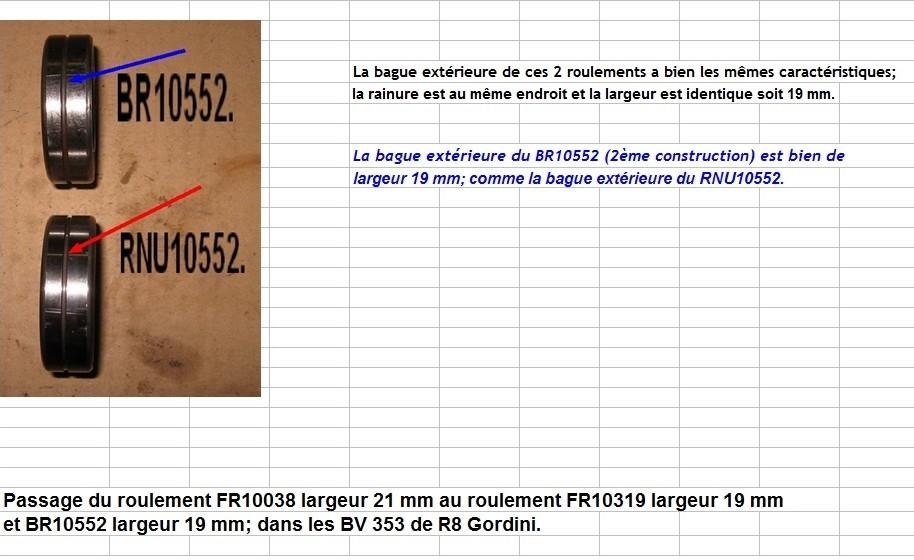 Boites 330 (R8) aux boites NG5 (R5 alpine turbo) roulements Rnu10511