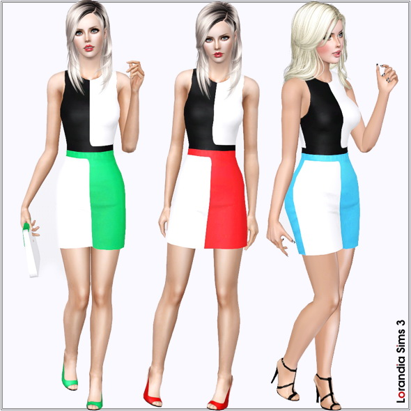 Colorblock designer day dress by Lore Lorand11