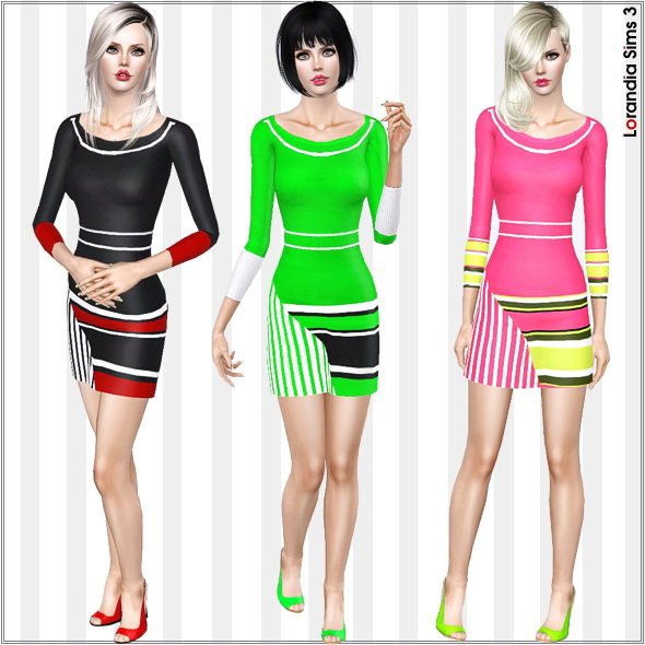 Long Sleeve Striped Color Block Dress by Lore Lorand12
