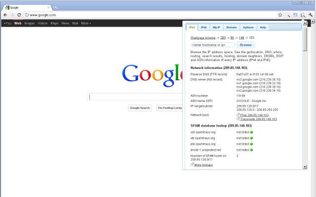 Scoprire informazioni su un sito e il suo IP con Chrome - IP Address and Domain Information 30ug6c10