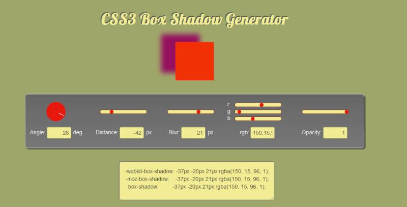 Generatore codici CSS Box Shadows - CSS3 Gen 34sj9f10