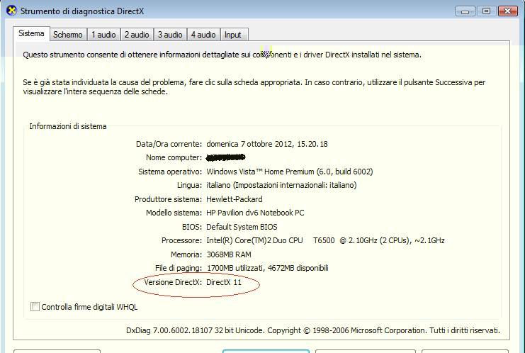 Scoprire qual'è la versione attuale del DirectX sul computer Dirext11