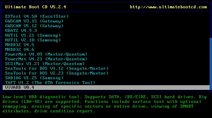 Ultimate Boot CD v5 : Tester son matériel, modifier une partition, supprimer un mot de passe de session, récupération de données... Choix_12