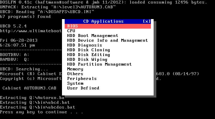 Ultimate Boot CD v5 : Tester son matériel, modifier une partition, supprimer un mot de passe de session, récupération de données... Launch10
