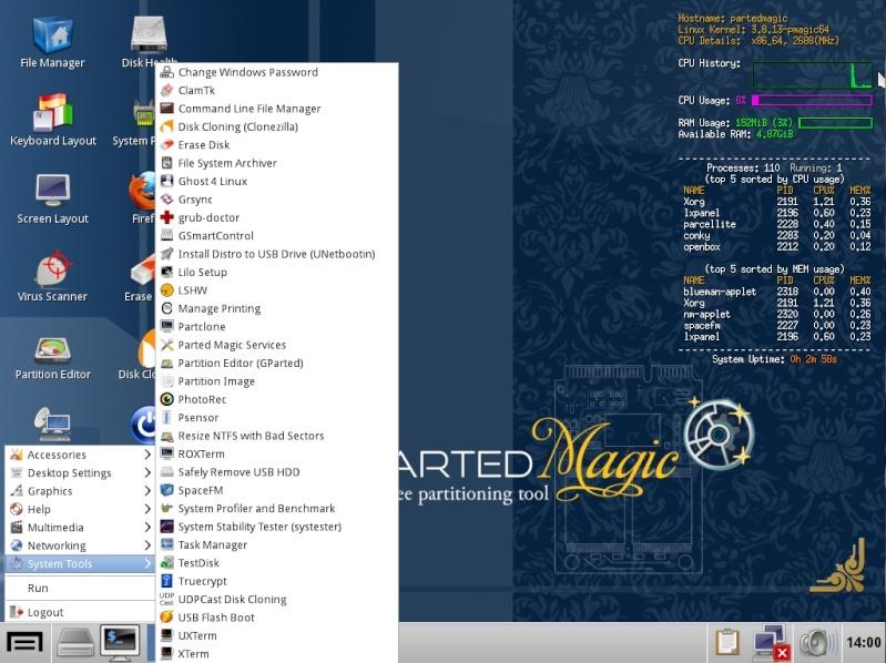 Ultimate Boot CD v5 : Tester son matériel, modifier une partition, supprimer un mot de passe de session, récupération de données... Menu_p10