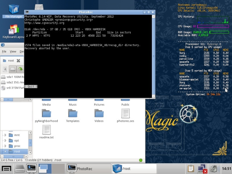 Ultimate Boot CD v5 : Tester son matériel, modifier une partition, supprimer un mot de passe de session, récupération de données... Recupe11