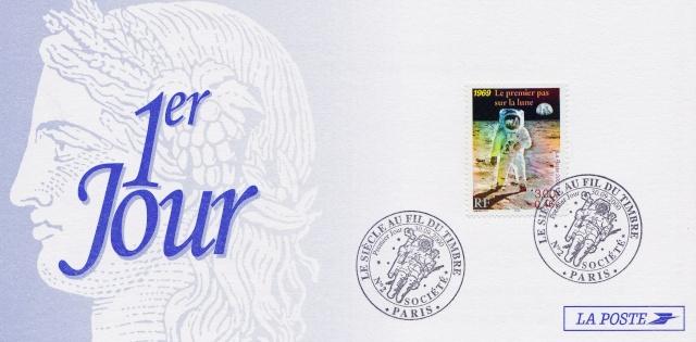 Astrophilatélie - Timbre Apollo 11 émis par la France le 30 septembre 2000 2000_014