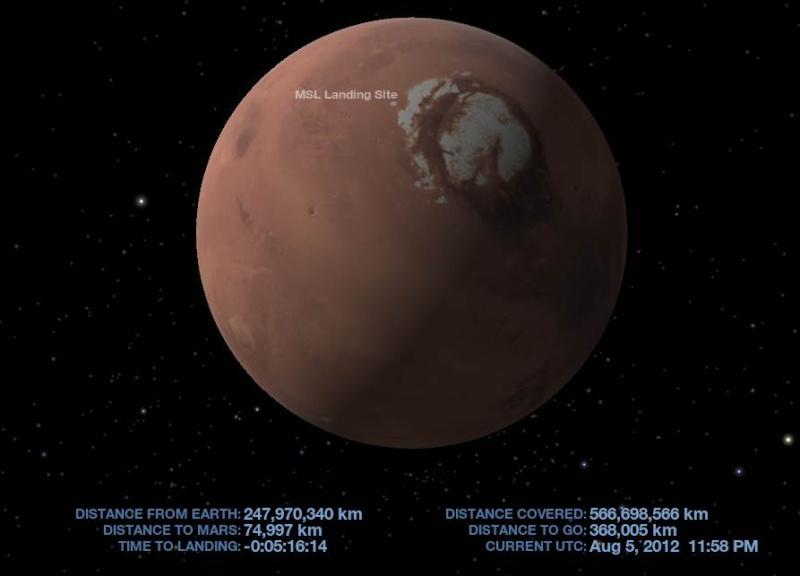 MSL et Curiosity arrivent sur la planète Mars Captur13