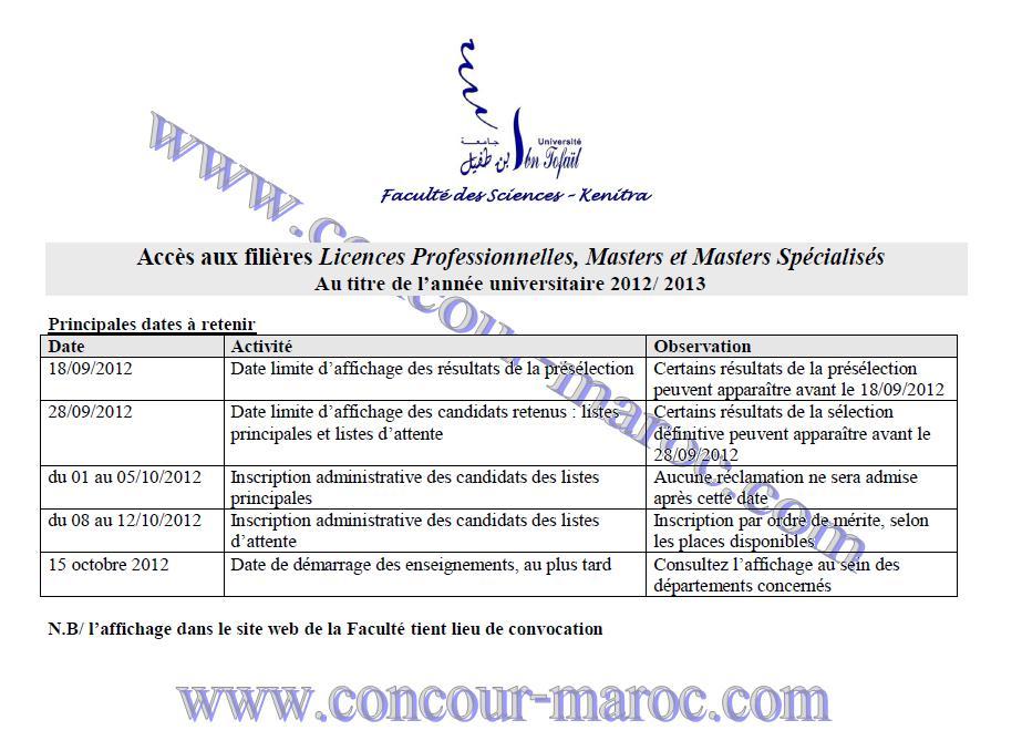 Faculté des Sciences de Kenitra : Résultat de la présélection & Résultat de la sélection définitive Accès aux filières Licences Professionnelles 2012/2013  Master22