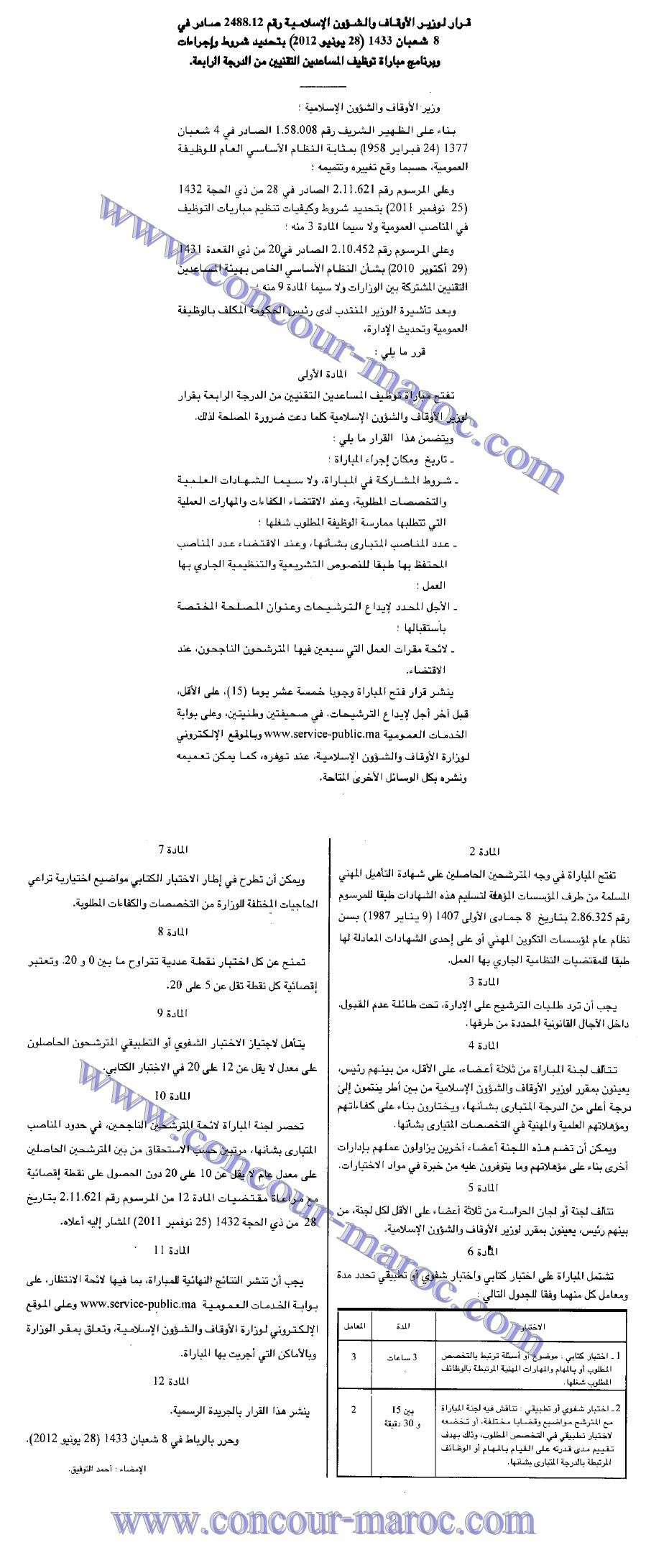 برامج اختبارات الكتابية و الشفوية و شروط و إجراءات مباراة توظيف المساعدين التقنيين من الدرجة الرابعة بوزارة الأوقاف و الشؤون الإسلامية  System12