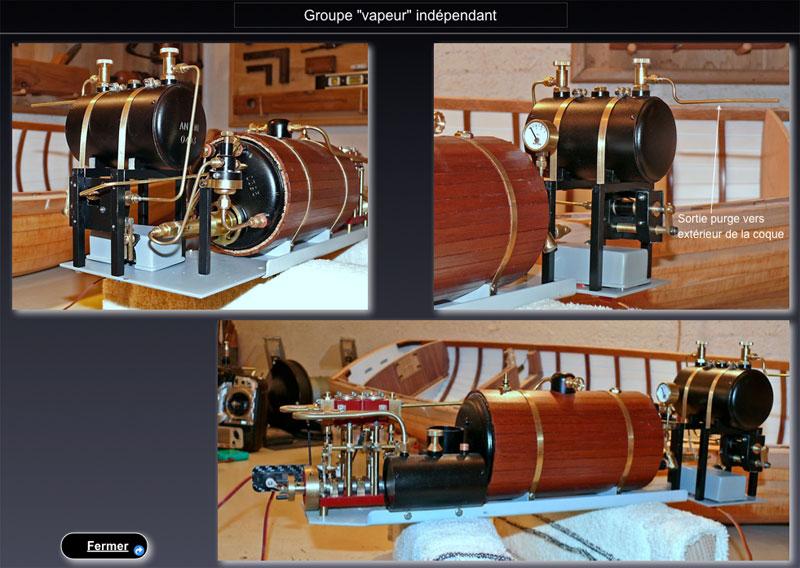 """Chaloupe à vapeur  """"Danmar"""" - Installation du moteur """"Cristal"""" d'Anton Ensemb10"""