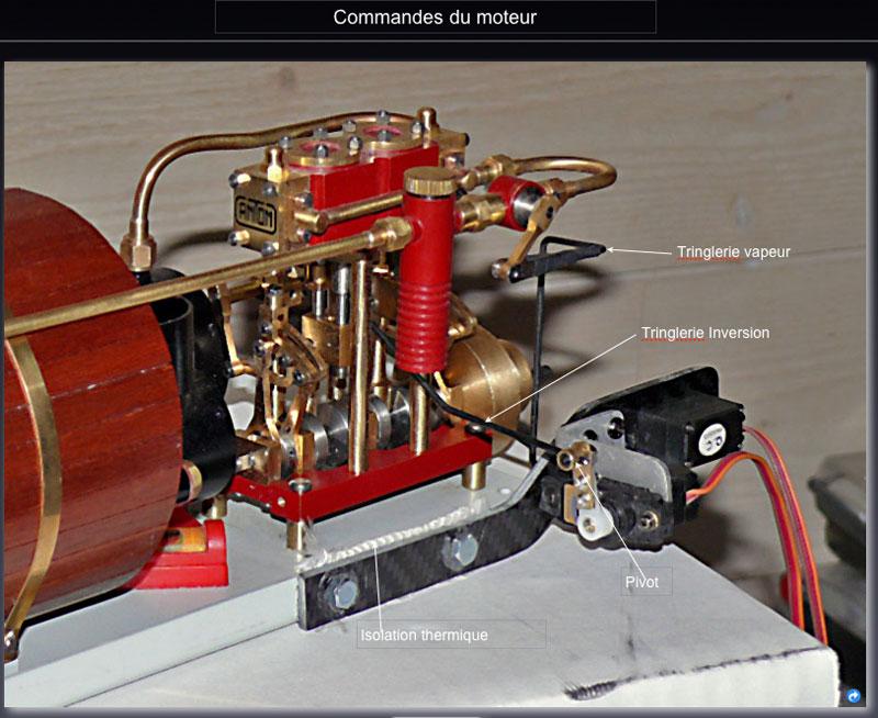 """Chaloupe à vapeur  """"Danmar"""" - Installation du moteur """"Cristal"""" d'Anton Servos10"""