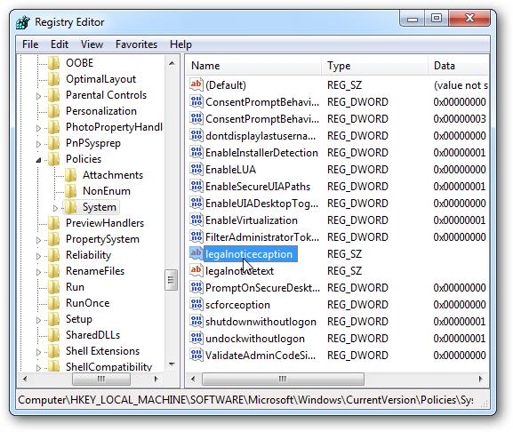 Hiển thị thông báo trước khi đăng nhập Windows 7 Regedi11