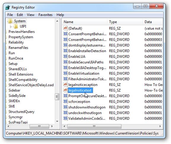 Hiển thị thông báo trước khi đăng nhập Windows 7 Regedi13