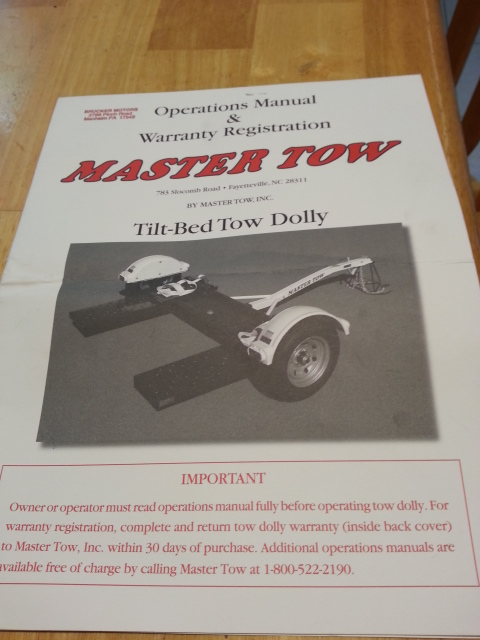 For Sale Tow Dolly Almost New 2011 Master Tow - quick sale for $850 Master16