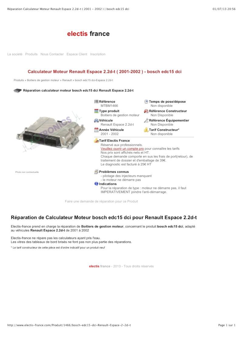 Recherche d'hypothèses panne calculateur Renault Espace III 2.2 dci phase 2 Repara10