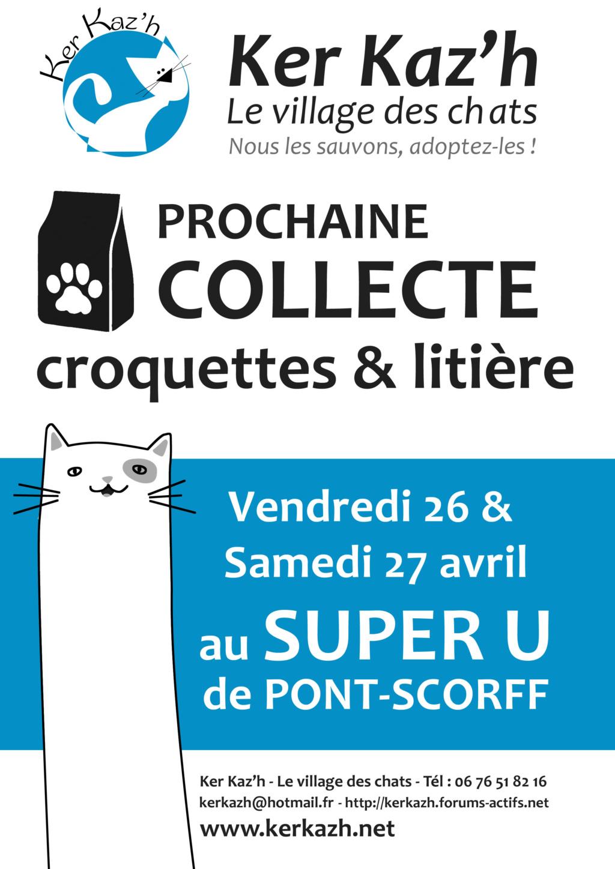 Collecte de croquettes et matériel à Super U de Pont-Scorff le 26 et 27 avril Affich10