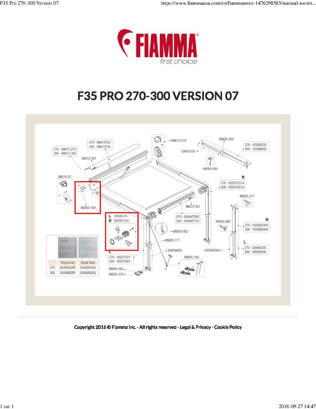 Pièces de remplacement - Auvent Fiamma F35_pr10
