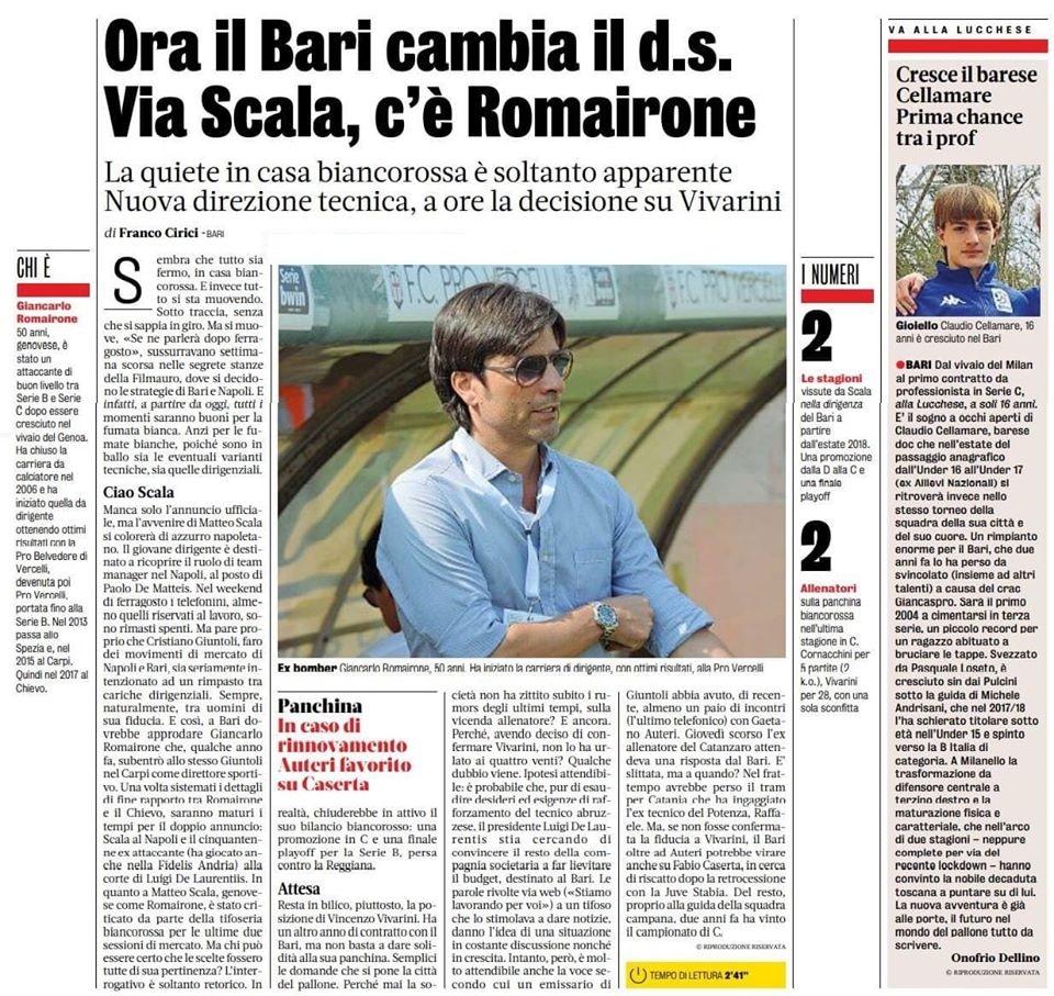 17/08/20 Ora il Bari  cambia il ds.  GDS 11808110