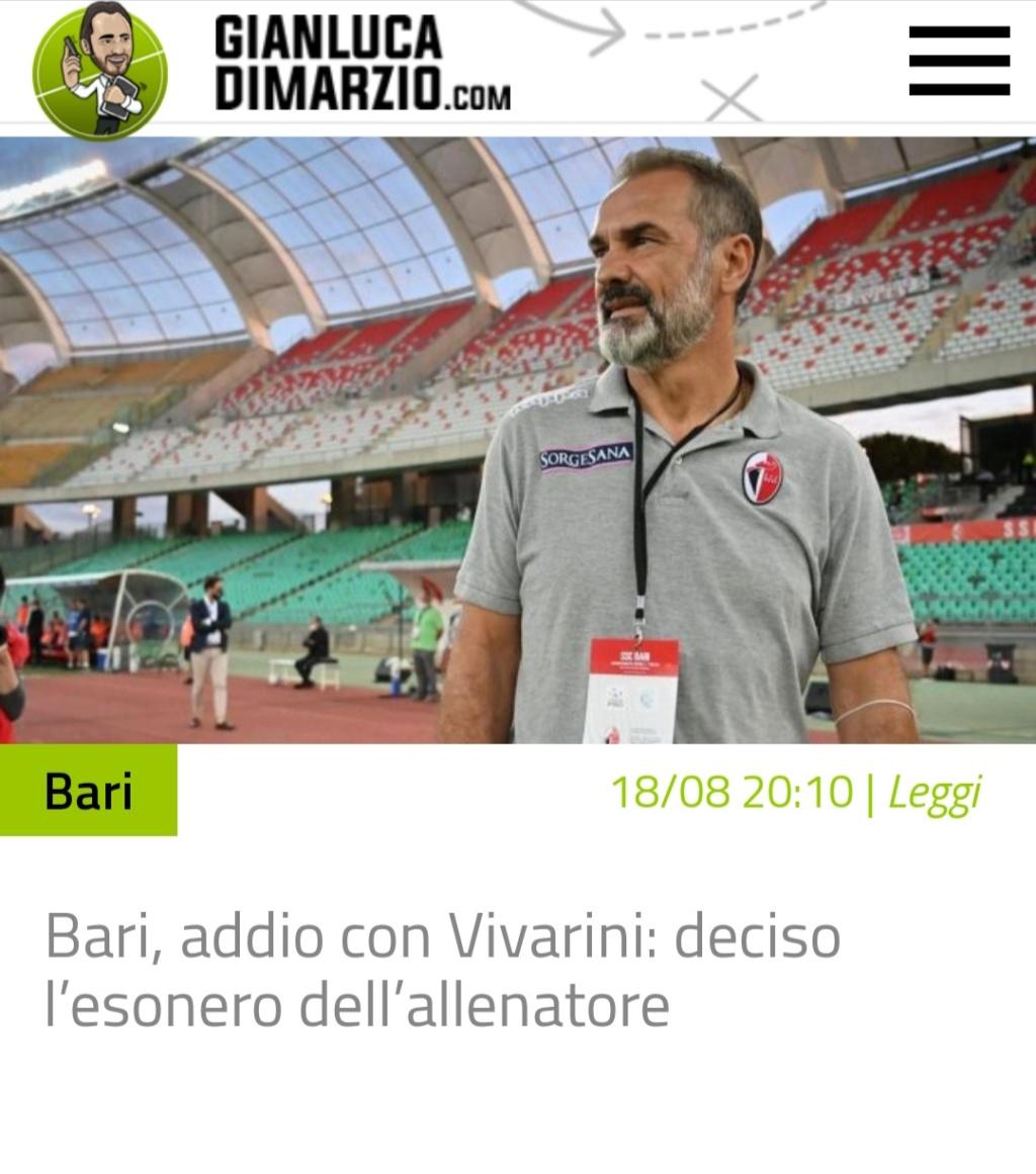 G.DI marzio ,Bari esonerato  Vivarini  20200810