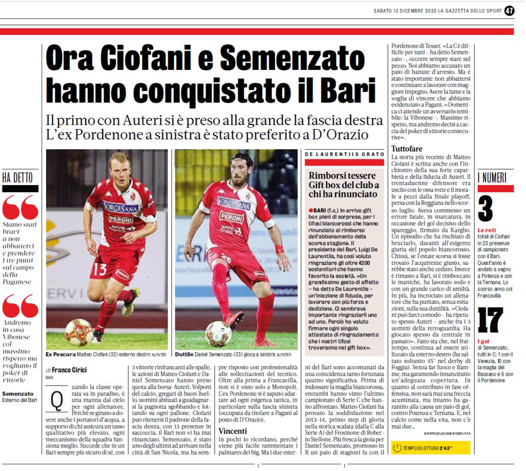 Edicola: 12.12.20GDS: Ora Ciofani e Semenzato conquistano Bari... Gds_112