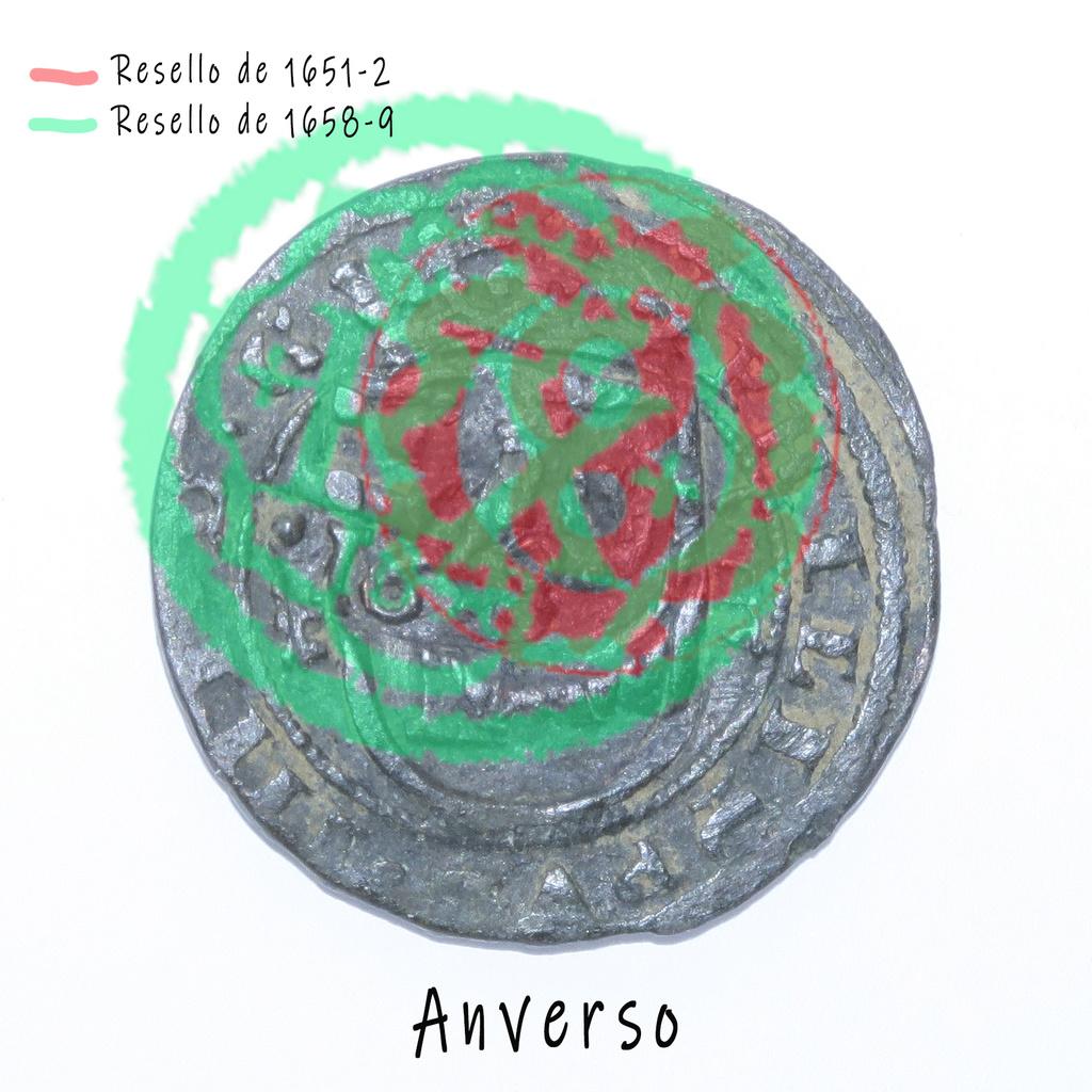 8 Maravedis 1614 e Felipe III de 1614 (ceca Segovia) resellados Anvers12