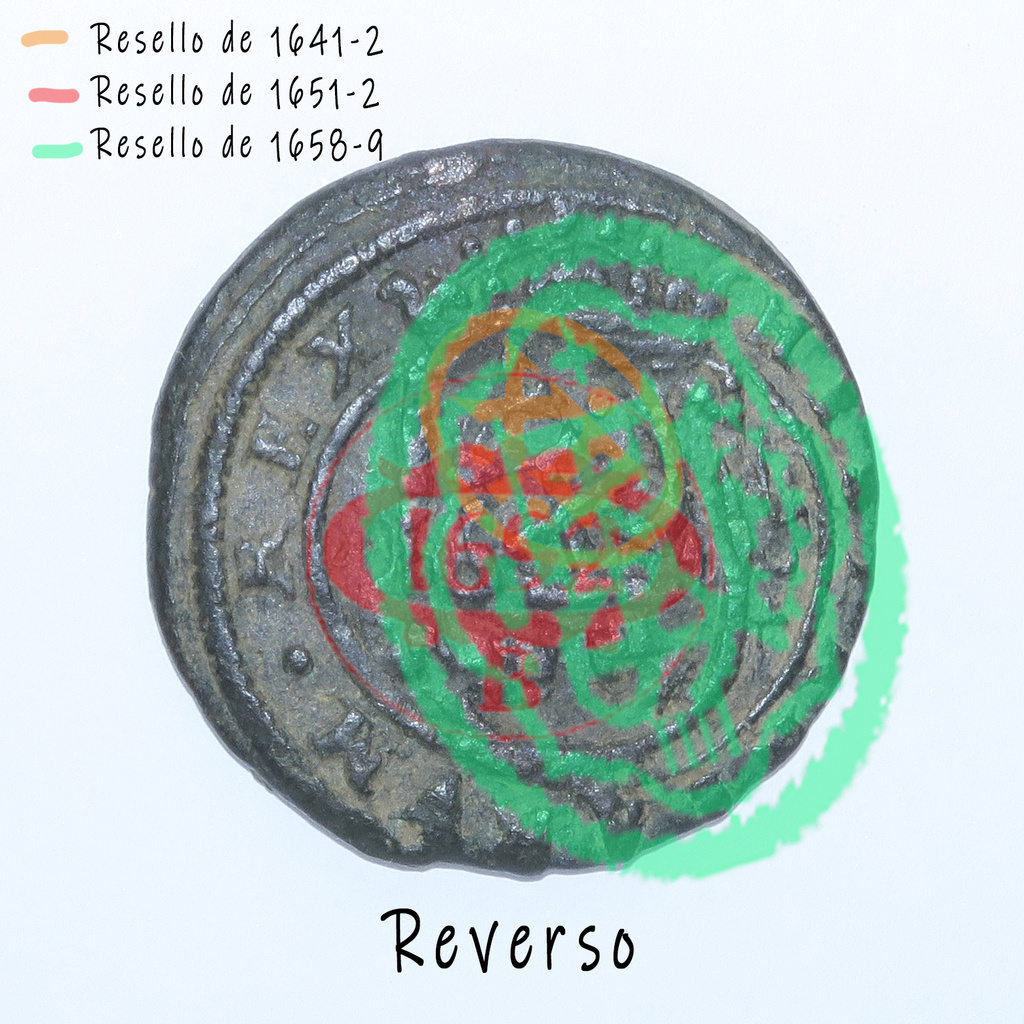 8 Maravedis 1614 e Felipe III de 1614 (ceca Segovia) resellados Revers11