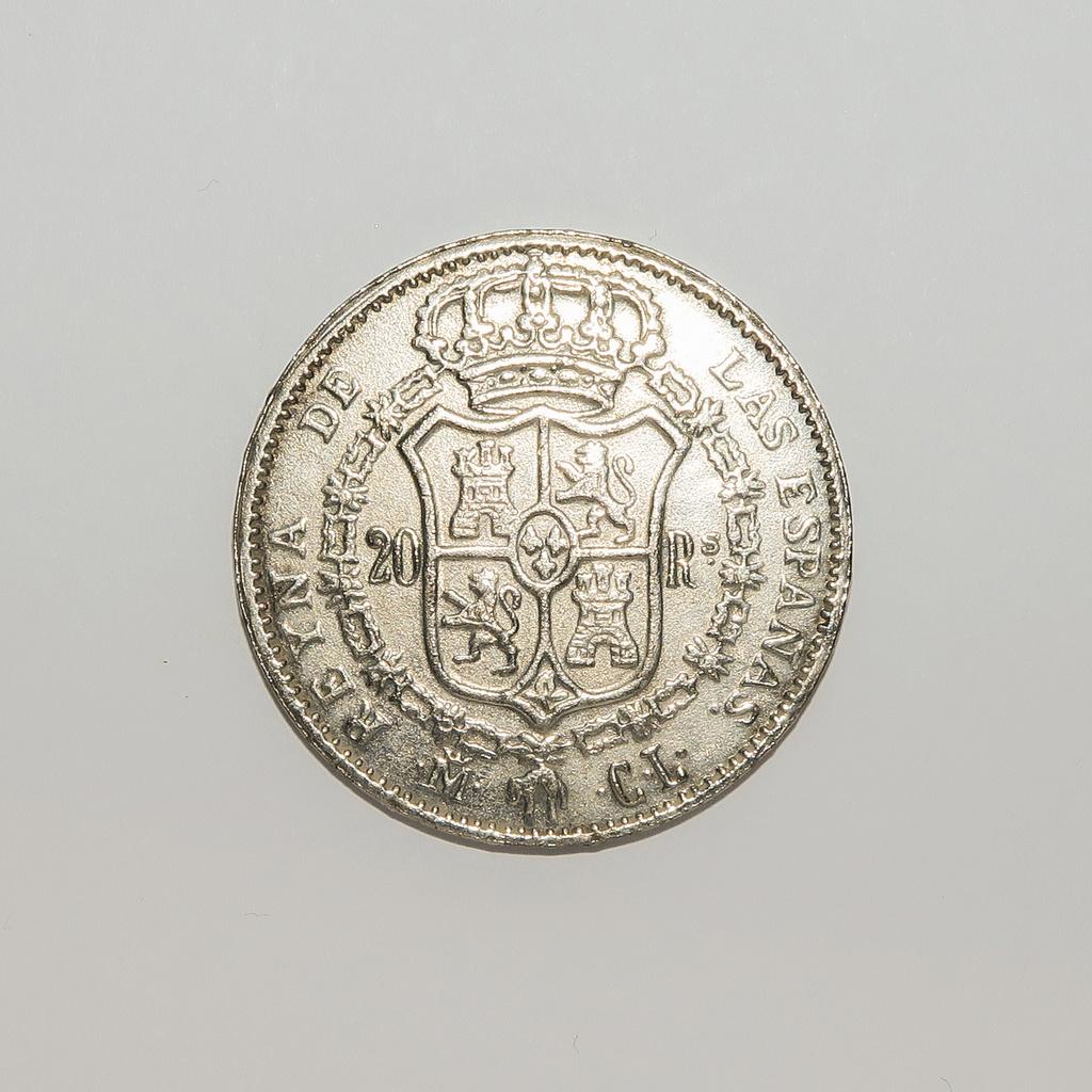 20 Reales  1837 Isabel II Revers12