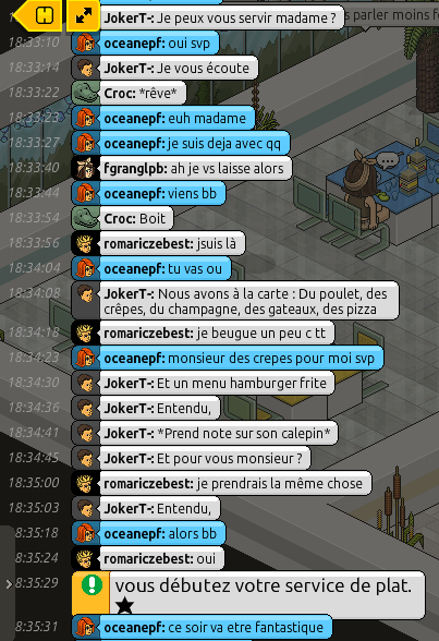 [Restaurant] Rapports d'actions RP de JokerT- 112