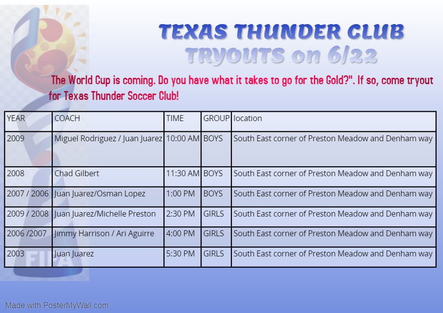 Texas Thunder SC - 2006 Boys Open tryouts 06/22/2019 Tryout10
