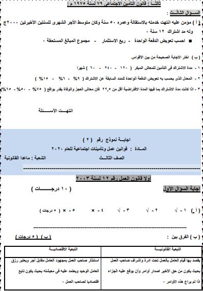 نماذج مادة قوانين العمل دبلوم تجارى  2021-072