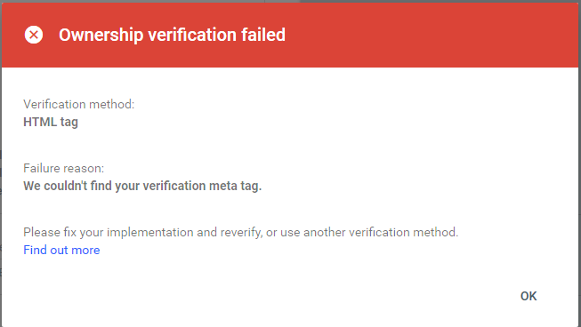 Ownership verification failed Screen10
