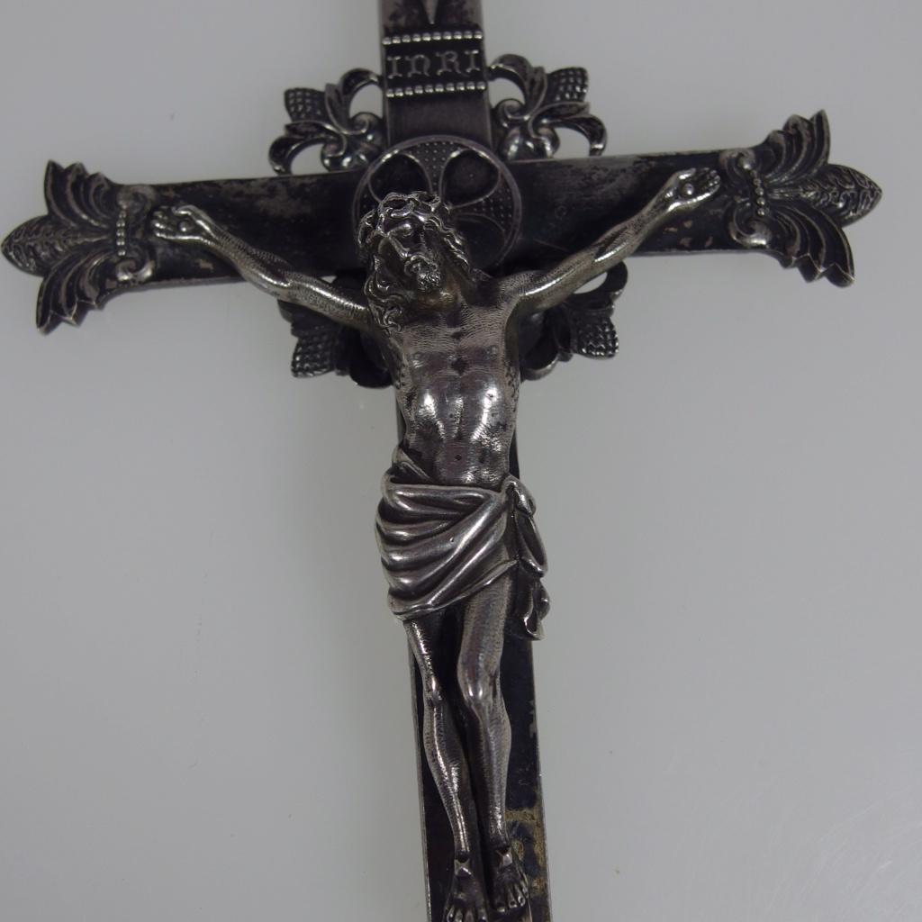 doble crucifixión jesus y la virgen  cruz de plata 1880 Imgp6910