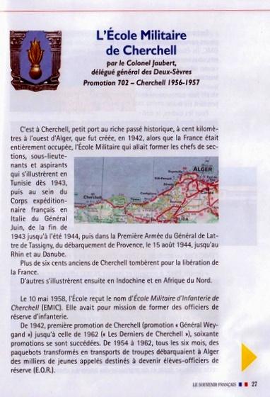 """ECOLE MILITAIRE D'INFANTERIE CHERCHELL 1942-1962 - article juillet 2016 du """"Souvenir Français"""" Cherch10"""